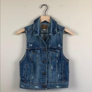 American Eagle Distressed Jean Vest (Size Small)